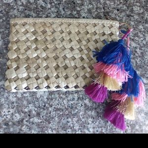Straw wallet clutch